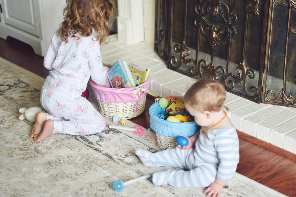 easter morning 2016! two baskets for two little bunnies!