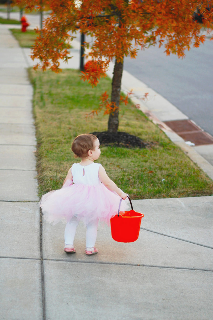 trick or treating with our bambina ballerina!