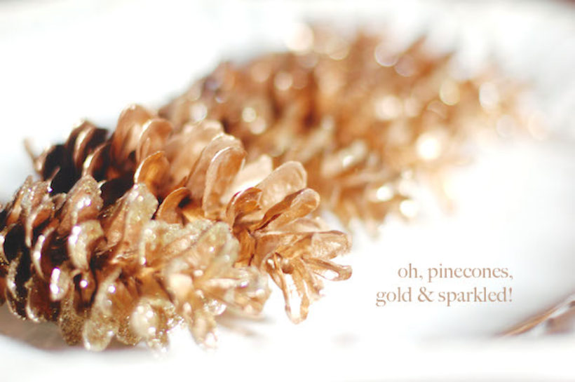 makey thursday! pinecones, gold and sparkled!