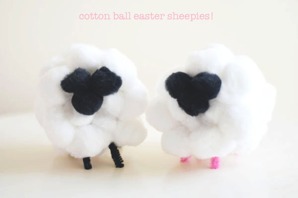makey tuesday! [because thursday is too far away] quick & fluffy cotton ball easter sheepies!