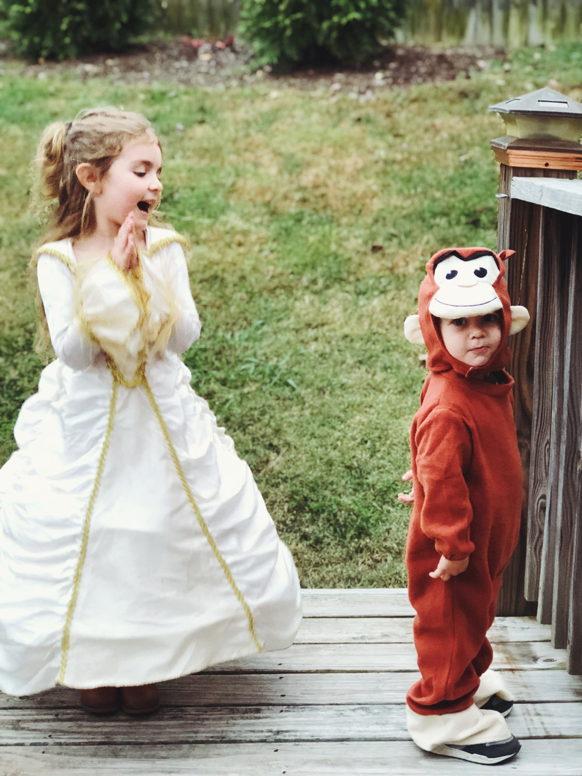 a princess and a monkey on halloween 17!!